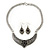 Ethnic Burn Silver Hammered, Black Ceramic Stone Necklace With T-Bar Closure & Teardrop Earrings Set - 42cm Length - view 8