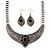 Ethnic Burn Silver Hammered, Black Ceramic Stone Necklace With T-Bar Closure & Teardrop Earrings Set - 42cm Length - view 2