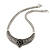 Ethnic Burn Silver Hammered, Black Ceramic Stone Necklace With T-Bar Closure & Teardrop Earrings Set - 42cm Length - view 4