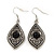 Ethnic Burn Silver Hammered, Black Ceramic Stone Necklace With T-Bar Closure & Teardrop Earrings Set - 42cm Length - view 6
