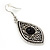 Ethnic Burn Silver Hammered, Black Ceramic Stone Necklace With T-Bar Closure & Teardrop Earrings Set - 42cm Length - view 7