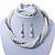 Bridal White, Metallic Grey Simulated Glass Pearl Bead Multi Strand Neckace, Bracelet & Drop Earrings Set In Silver Tone - 34cm Length/ 4cm Extender