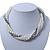 Bridal White, Metallic Grey Simulated Glass Pearl Bead Multi Strand Neckace, Bracelet & Drop Earrings Set In Silver Tone - 34cm Length/ 4cm Extender - view 4