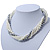 Bridal White, Metallic Grey Simulated Glass Pearl Bead Multi Strand Neckace, Bracelet & Drop Earrings Set In Silver Tone - 34cm Length/ 4cm Extender - view 5