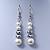 Bridal White, Metallic Grey Simulated Glass Pearl Bead Multi Strand Neckace, Bracelet & Drop Earrings Set In Silver Tone - 34cm Length/ 4cm Extender - view 6