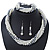 Bridal White, Metallic Grey Simulated Glass Pearl Bead Multi Strand Neckace, Bracelet & Drop Earrings Set In Silver Tone - 34cm Length/ 4cm Extender - view 3