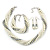 Bridal White, Metallic Grey Simulated Glass Pearl Bead Multi Strand Neckace, Bracelet & Drop Earrings Set In Silver Tone - 34cm Length/ 4cm Extender - view 2