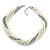 Bridal White, Metallic Grey Simulated Glass Pearl Bead Multi Strand Neckace, Bracelet & Drop Earrings Set In Silver Tone - 34cm Length/ 4cm Extender - view 7