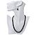 Black Glass Bead Necklace, Flex Bracelet & Drop Earrings Set With Diamante Rings - 38cm Length/ 6cm Extension - view 2