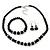 Black Glass Bead Necklace, Flex Bracelet & Drop Earrings Set With Diamante Rings - 38cm Length/ 6cm Extension - view 3