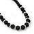 Black Glass Bead Necklace, Flex Bracelet & Drop Earrings Set With Diamante Rings - 38cm Length/ 6cm Extension - view 4