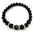 Black Glass Bead Necklace, Flex Bracelet & Drop Earrings Set With Diamante Rings - 38cm Length/ 6cm Extension - view 5