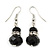 Black Glass Bead Necklace, Flex Bracelet & Drop Earrings Set With Diamante Rings - 38cm Length/ 6cm Extension - view 6