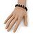 Black Glass Bead Necklace, Flex Bracelet & Drop Earrings Set With Diamante Rings - 38cm Length/ 6cm Extension - view 7