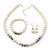White Simulated Glass Pearl Bead Necklace, Flex Bracelet & Drop Earrings Set With Diamante Rings & Metallic Grey Beads - 38cm Length/ 6cm Extension - view 2