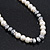White Simulated Glass Pearl Bead Necklace, Flex Bracelet & Drop Earrings Set With Diamante Rings & Metallic Grey Beads - 38cm Length/ 6cm Extension - view 5