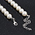White Simulated Glass Pearl Bead Necklace, Flex Bracelet & Drop Earrings Set With Diamante Rings & Metallic Grey Beads - 38cm Length/ 6cm Extension - view 7
