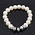 White Simulated Glass Pearl Bead Necklace, Flex Bracelet & Drop Earrings Set With Diamante Rings & Metallic Grey Beads - 38cm Length/ 6cm Extension - view 6