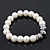 White Simulated Glass Pearl Bead Necklace, Flex Bracelet & Drop Earrings Set With Diamante Rings & Metallic Grey Beads - 38cm Length/ 6cm Extension - view 11