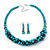 Teal Faux Pearl/ Glass Crystal Cluster Necklace & Drop Earrings Set In Silver Plating - 38cm Length/ 6cm Extender - view 3