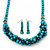 Teal Faux Pearl/ Glass Crystal Cluster Necklace & Drop Earrings Set In Silver Plating - 38cm Length/ 6cm Extender - view 2