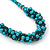 Teal Faux Pearl/ Glass Crystal Cluster Necklace & Drop Earrings Set In Silver Plating - 38cm Length/ 6cm Extender - view 8