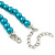 Teal Faux Pearl/ Glass Crystal Cluster Necklace & Drop Earrings Set In Silver Plating - 38cm Length/ 6cm Extender - view 7
