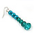 Teal Faux Pearl/ Glass Crystal Cluster Necklace & Drop Earrings Set In Silver Plating - 38cm Length/ 6cm Extender - view 9