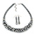 Metallic Silver/Grey Faux Pearl/ Glass Crystal Cluster Necklace & Drop Earrings Set In Silver Plating - 38cm Length/ 6cm Extender - view 4