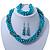 Azure, Metallic Teal Simulated Glass Pearl Bead Multi Strand Neckace, Bracelet & Drop Earrings Set In Silver Tone - 34cm Length/ 4cm Extender
