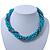 Azure, Metallic Teal Simulated Glass Pearl Bead Multi Strand Neckace, Bracelet & Drop Earrings Set In Silver Tone - 34cm Length/ 4cm Extender - view 6