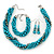 Azure, Metallic Teal Simulated Glass Pearl Bead Multi Strand Neckace, Bracelet & Drop Earrings Set In Silver Tone - 34cm Length/ 4cm Extender - view 2