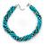 Azure, Metallic Teal Simulated Glass Pearl Bead Multi Strand Neckace, Bracelet & Drop Earrings Set In Silver Tone - 34cm Length/ 4cm Extender - view 8