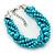 Azure, Metallic Teal Simulated Glass Pearl Bead Multi Strand Neckace, Bracelet & Drop Earrings Set In Silver Tone - 34cm Length/ 4cm Extender - view 4