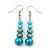 Azure, Metallic Teal Simulated Glass Pearl Bead Multi Strand Neckace, Bracelet & Drop Earrings Set In Silver Tone - 34cm Length/ 4cm Extender - view 3