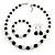 Black/ Cream Glass Pearl Bead Necklace, Flex Bracelet & Drop Earrings Set With Diamante Rings - 38cm Length/ 6cm Extension