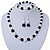 Black/ Cream Glass Pearl Bead Necklace, Flex Bracelet & Drop Earrings Set With Diamante Rings - 38cm Length/ 6cm Extension - view 2
