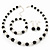 Black/ Cream Glass Pearl Bead Necklace, Flex Bracelet & Drop Earrings Set With Diamante Rings - 38cm Length/ 6cm Extension - view 9