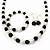 Black/ Cream Glass Pearl Bead Necklace, Flex Bracelet & Drop Earrings Set With Diamante Rings - 38cm Length/ 6cm Extension - view 5
