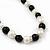 Black/ Cream Glass Pearl Bead Necklace, Flex Bracelet & Drop Earrings Set With Diamante Rings - 38cm Length/ 6cm Extension - view 6
