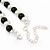 Black/ Cream Glass Pearl Bead Necklace, Flex Bracelet & Drop Earrings Set With Diamante Rings - 38cm Length/ 6cm Extension - view 7