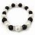 Black/ Cream Glass Pearl Bead Necklace, Flex Bracelet & Drop Earrings Set With Diamante Rings - 38cm Length/ 6cm Extension - view 10