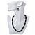 Jet Black Glass Bead Necklace, Flex Bracelet & Drop Earrings Set With Diamante Rings - 40cm Length/ 6cm Extension - view 3