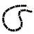 Jet Black Glass Bead Necklace, Flex Bracelet & Drop Earrings Set With Diamante Rings - 40cm Length/ 6cm Extension - view 4