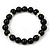 Jet Black Glass Bead Necklace, Flex Bracelet & Drop Earrings Set With Diamante Rings - 40cm Length/ 6cm Extension - view 5
