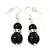 Jet Black Glass Bead Necklace, Flex Bracelet & Drop Earrings Set With Diamante Rings - 40cm Length/ 6cm Extension - view 6