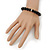 Jet Black Glass Bead Necklace, Flex Bracelet & Drop Earrings Set With Diamante Rings - 40cm Length/ 6cm Extension - view 7