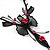 Exquisite Y-Shape Magenta Rose Necklace & Drop Earring Set In Black Metal - view 4