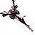 Exquisite Y-Shape Magenta Rose Necklace & Drop Earring Set In Black Metal - view 13