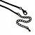 Exquisite Y-Shape Magenta Rose Necklace & Drop Earring Set In Black Metal - view 7